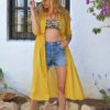 mustard cover up lace button up ibiza trendy