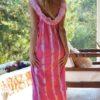 vestido boho chic rosa izuskan ibiza espalda tul