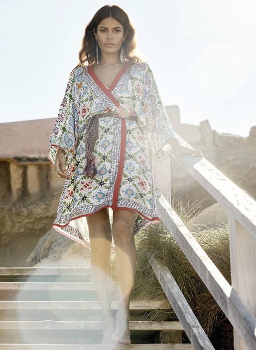 Kimono lentejuelas izuskan blanco