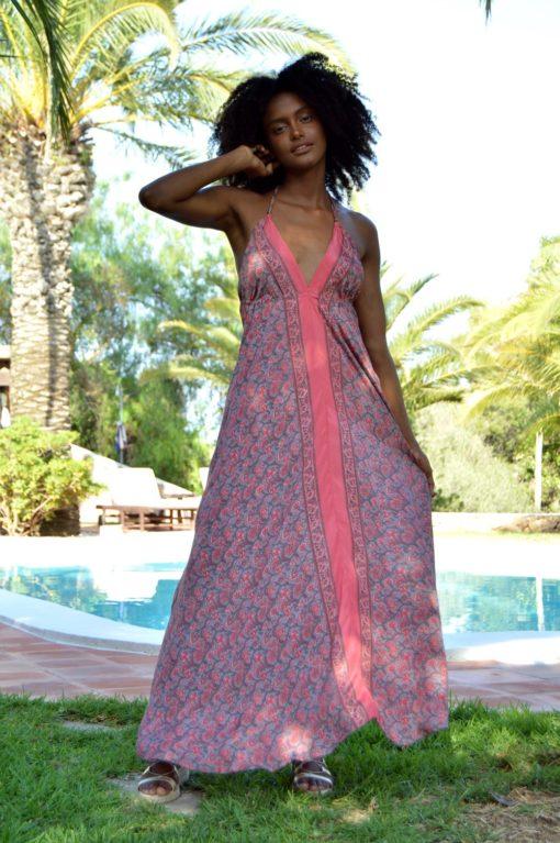 beach dress indian silk sundress rose free love ibiza trendy