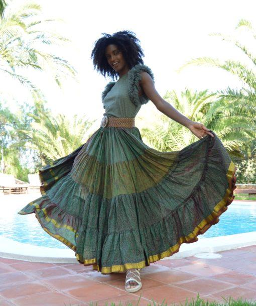 maxi falda de seda india boho chic ibiza trendy verde