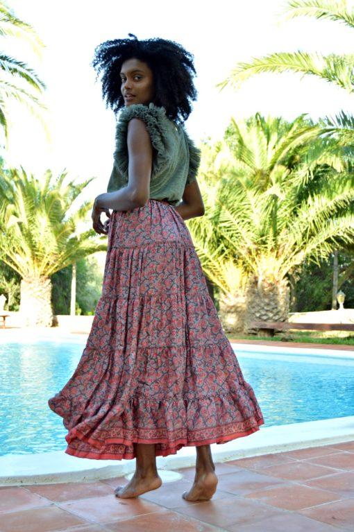 maxi falda rose free love ibiza trendy
