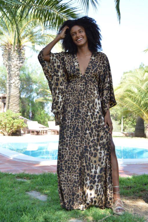 maxi kaftan leopard gold