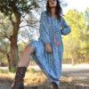 Blue indian boho dress maxi tassel ibiza trendy