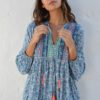 Blue indian hippie chic blouse ibiza trendy
