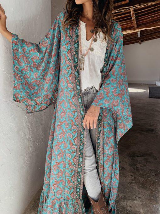 Maxi kimono azul turquesa boho chic ibiza trendy