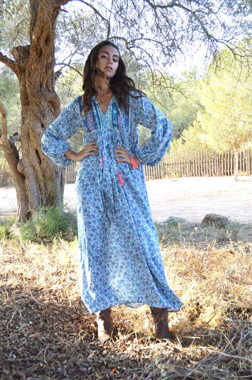 vestido boho largo azul ibiza trendy RR