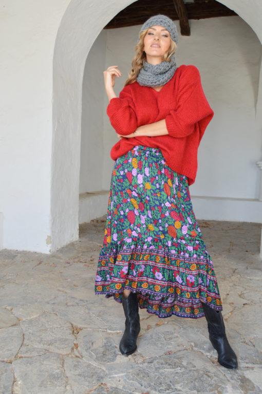 falda azul marino flores colores ibiza trendy