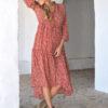 red boho button up dress ibiza trendy bohemian