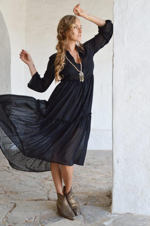 vestido gasa boho negro ibiza trendy
