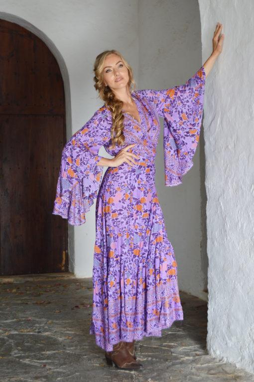violet kimono orange flowers ibiza trendy boho